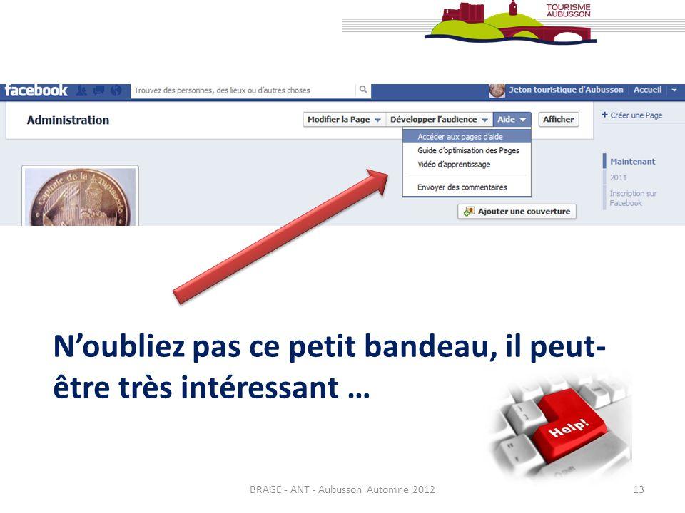 BRAGE - ANT - Aubusson Automne 201213 Noubliez pas ce petit bandeau, il peut- être très intéressant …