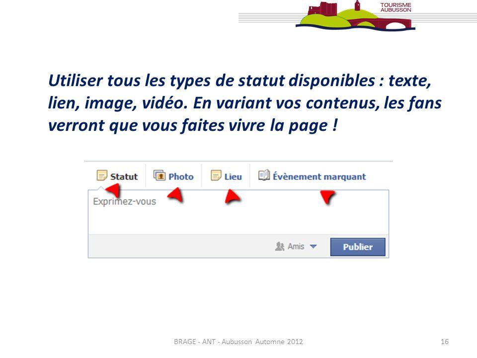 BRAGE - ANT - Aubusson Automne 201216 Utiliser tous les types de statut disponibles : texte, lien, image, vidéo. En variant vos contenus, les fans ver