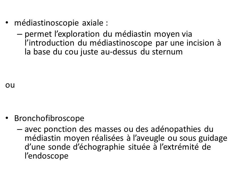 médiastinoscopie axiale : – permet lexploration du médiastin moyen via lintroduction du médiastinoscope par une incision à la base du cou juste au-des