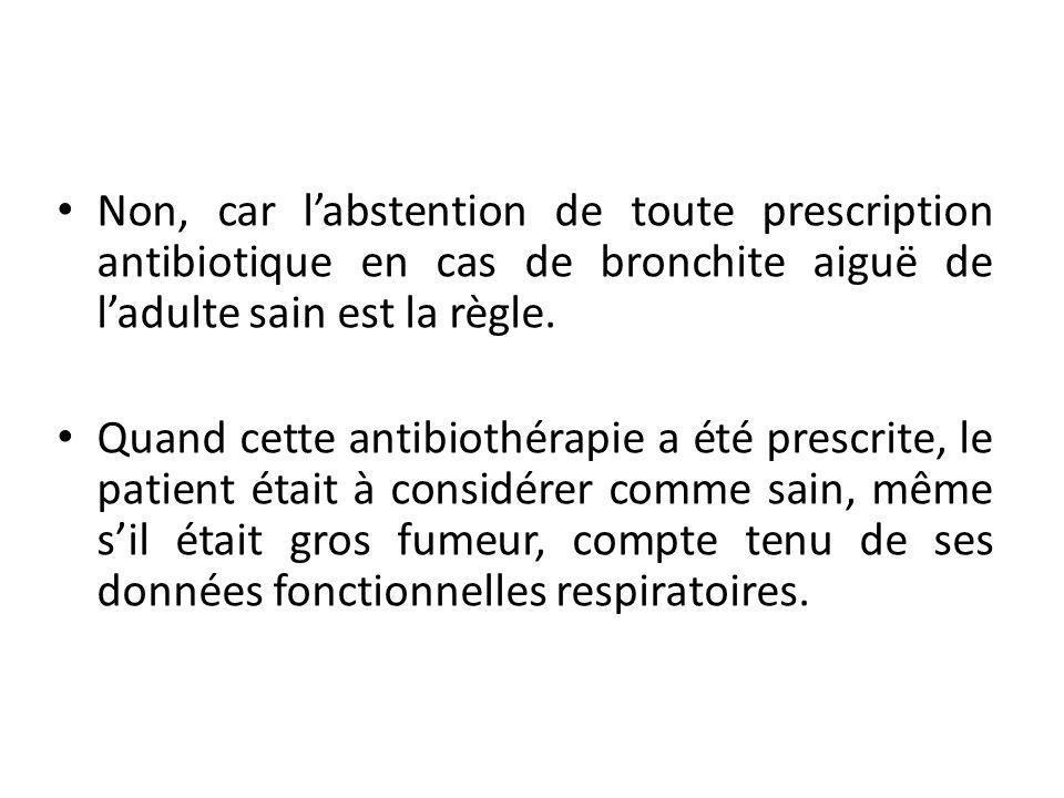 Non, car labstention de toute prescription antibiotique en cas de bronchite aiguë de ladulte sain est la règle. Quand cette antibiothérapie a été pres