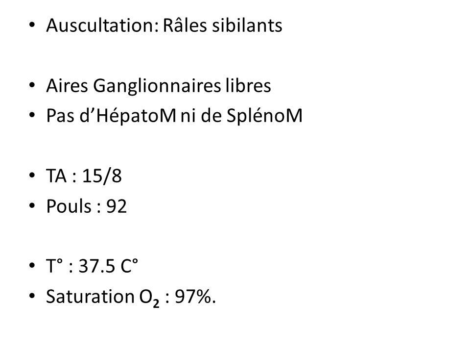 Auscultation: Râles sibilants Aires Ganglionnaires libres Pas dHépatoM ni de SplénoM TA : 15/8 Pouls : 92 T° : 37.5 C° Saturation O 2 : 97%.