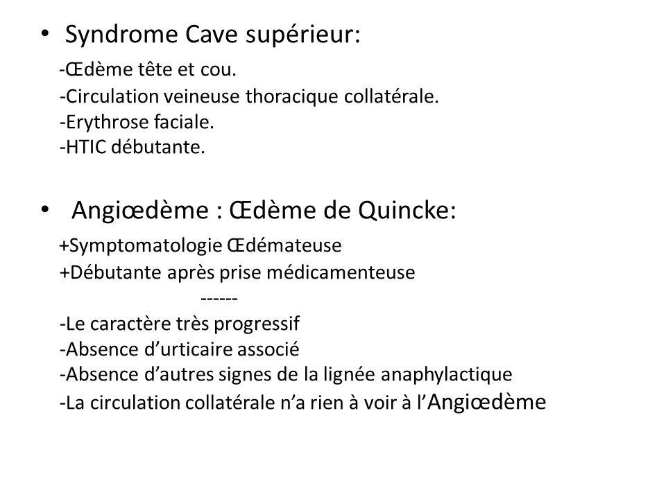 Syndrome Cave supérieur: -Œdème tête et cou. -Circulation veineuse thoracique collatérale. -Erythrose faciale. -HTIC débutante. Angiœdème : Œdème de Q