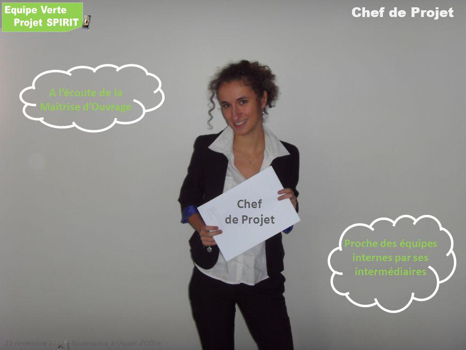 Chef de Projet 22 novembre 2010 – Soutenance à lAppel dOffre Chef de Projet A lécoute de la Maitrise dOuvrage Proche des équipes internes par ses inte