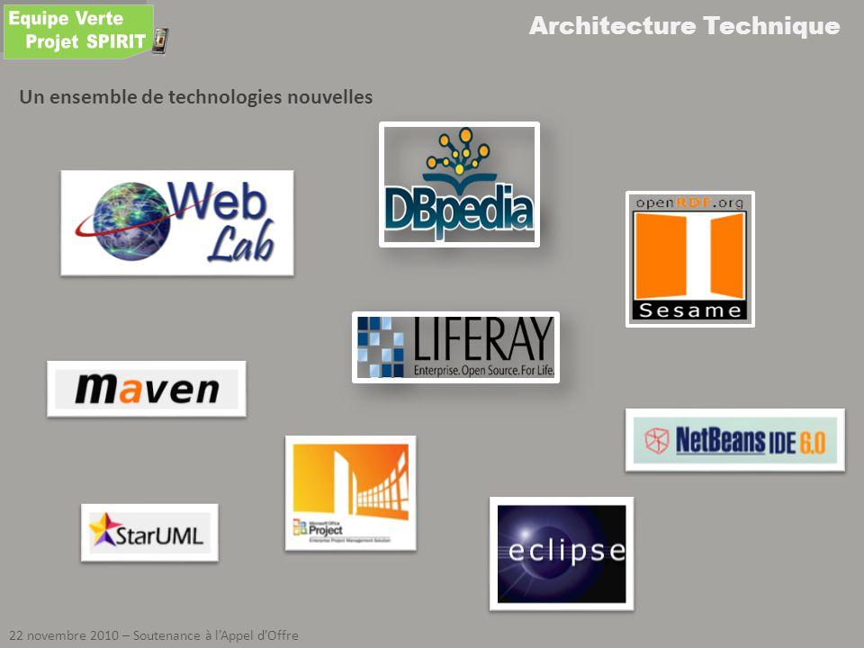 Architecture Technique 22 novembre 2010 – Soutenance à lAppel dOffre Un ensemble de technologies nouvelles