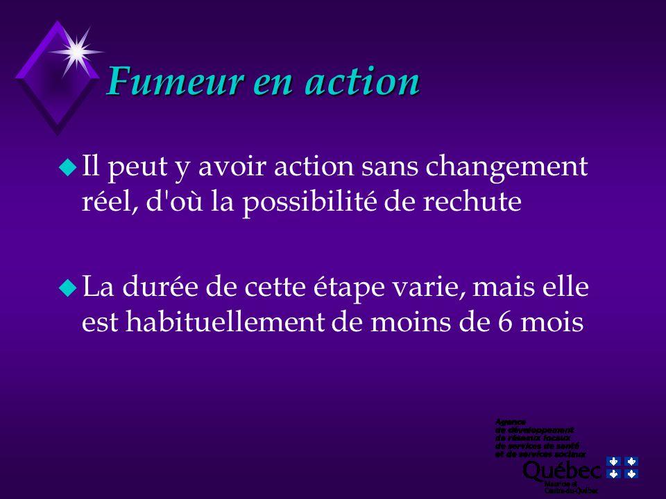 Fumeur en action u Il peut y avoir action sans changement réel, d'où la possibilité de rechute u La durée de cette étape varie, mais elle est habituel