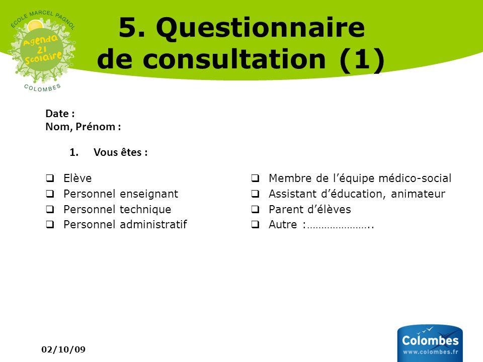 02/10/09 5. Questionnaire de consultation (1) Date : Nom, Prénom : 1.Vous êtes : Elève Personnel enseignant Personnel technique Personnel administrati
