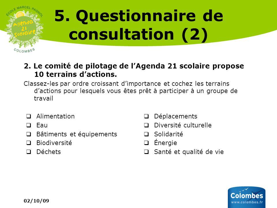 02/10/09 5. Questionnaire de consultation (2) 2. Le comité de pilotage de lAgenda 21 scolaire propose 10 terrains dactions. Classez-les par ordre croi