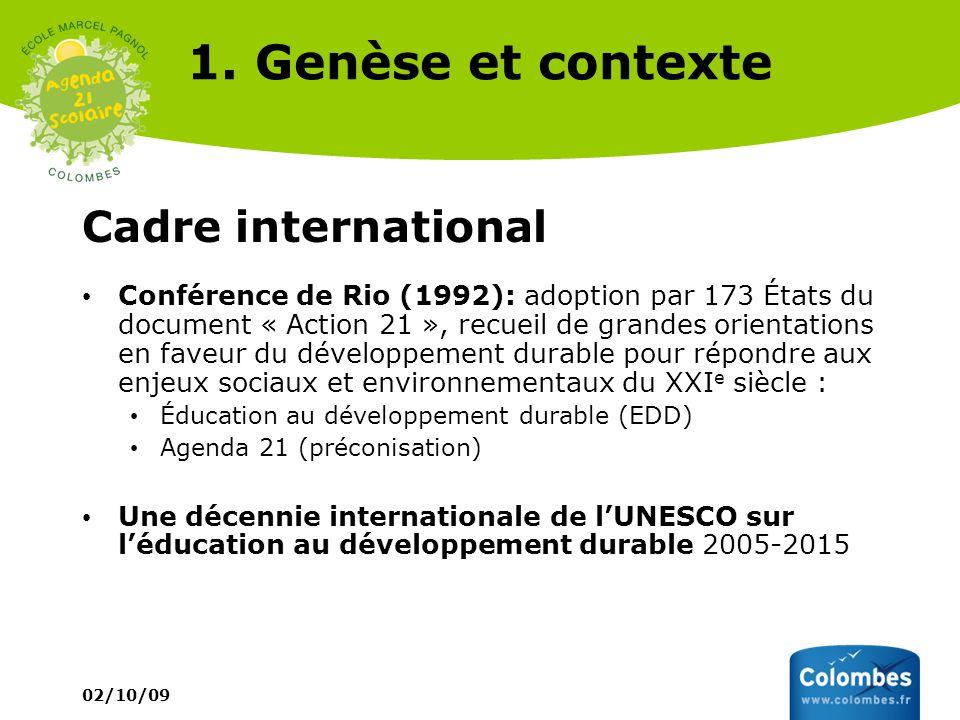 02/10/09 1. Genèse et contexte Cadre international Conférence de Rio (1992): adoption par 173 États du document « Action 21 », recueil de grandes orie