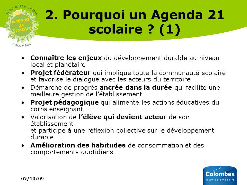 02/10/09 2. Pourquoi un Agenda 21 scolaire ? (1) Connaître les enjeux du développement durable au niveau local et planétaire Projet fédérateur qui imp