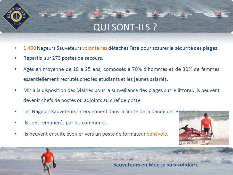 Sauveteurs en Mer, je suis solidaire Conforter notre dynamique de développement QUI SONT-ILS ? 1 400 Nageurs Sauveteurs volontaires détachés lété pour
