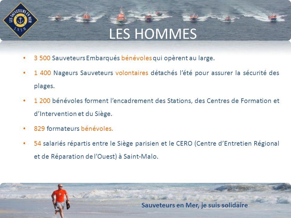 Sauveteurs en Mer, je suis solidaire Conforter notre dynamique de développement LES CHIFFRES CLÉS 2011 24h/24h et 365j/an avec un délai de ralliement de 15 min 70% des interventions se déroulent de jour et 30% de nuit Temps moyen dintervention : 01h45.