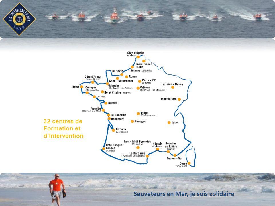 Sauveteurs en Mer, je suis solidaire Conforter notre dynamique de développement LES CENTRES DE FORMATION ET DINTERVENTION A 32 centres de Formation et