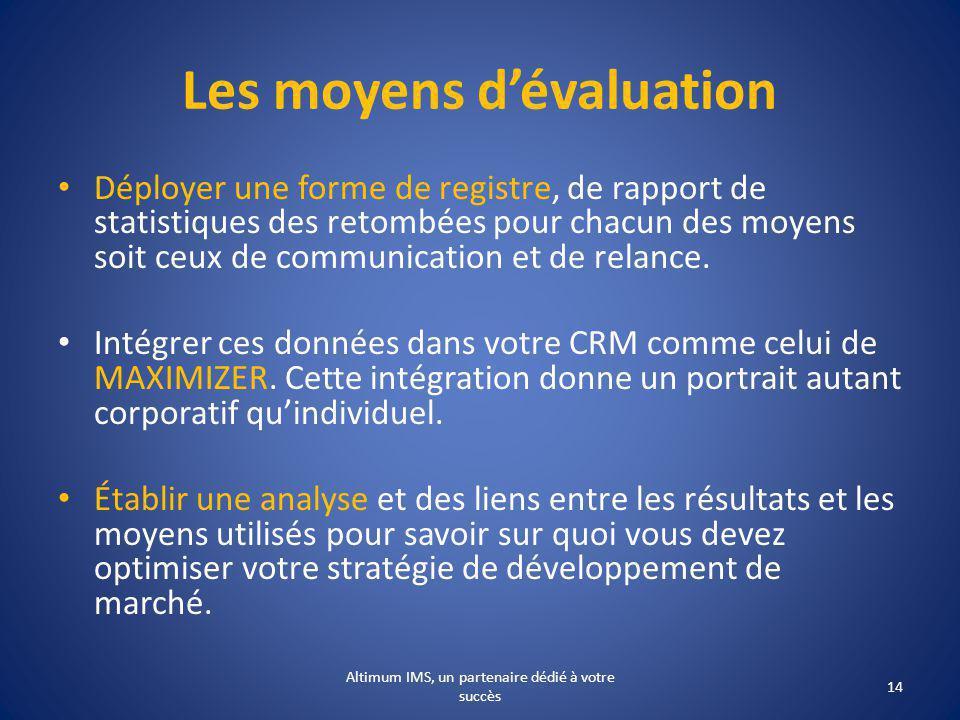 Les moyens dévaluation Déployer une forme de registre, de rapport de statistiques des retombées pour chacun des moyens soit ceux de communication et de relance.