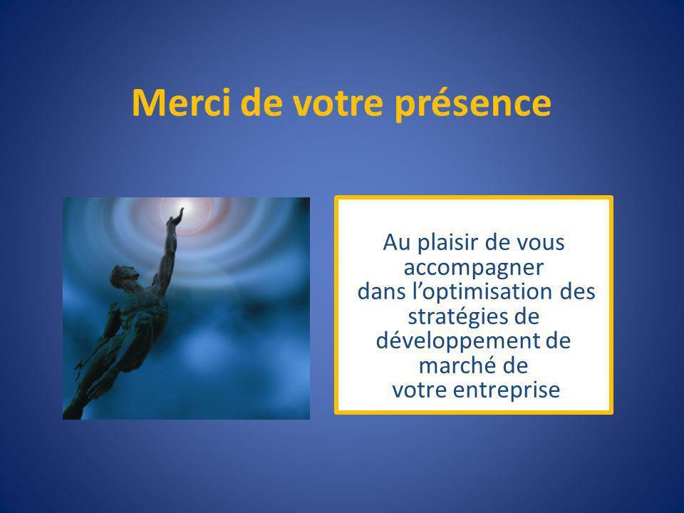 Merci de votre présence Au plaisir de vous accompagner dans loptimisation des stratégies de développement de marché de votre entreprise