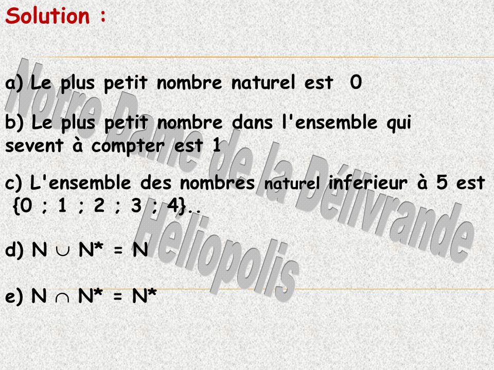 a) Le plus petit nombre naturel est 0 b) Le plus petit nombre dans l ensemble qui sevent à compter est 1 c) L ensemble des nombres naturel inferieur à 5 est {0 ; 1 ; 2 ; 3 ; 4}..