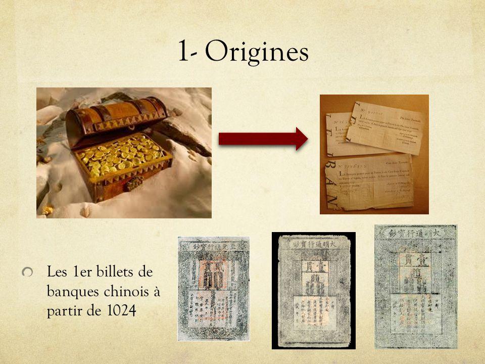1- Origines Les 1er billets de banques chinois à partir de 1024
