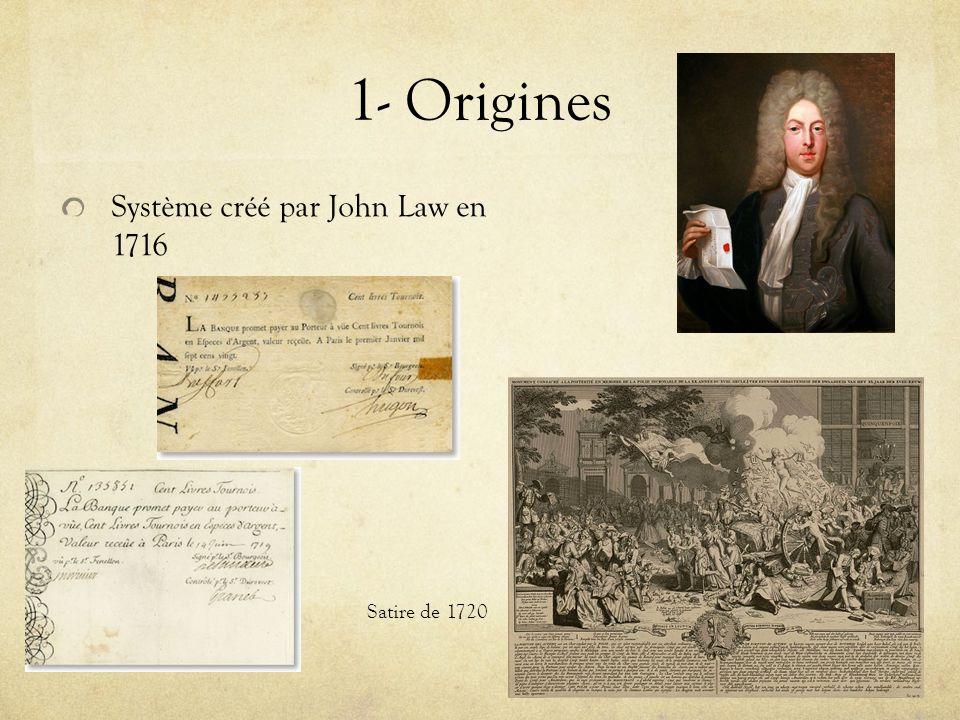 1- Origines Système créé par John Law en 1716 Satire de 1720