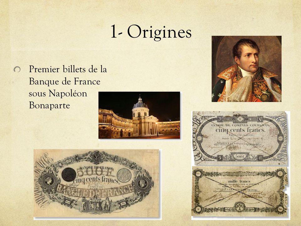 1- Origines Premier billets de la Banque de France sous Napoléon Bonaparte
