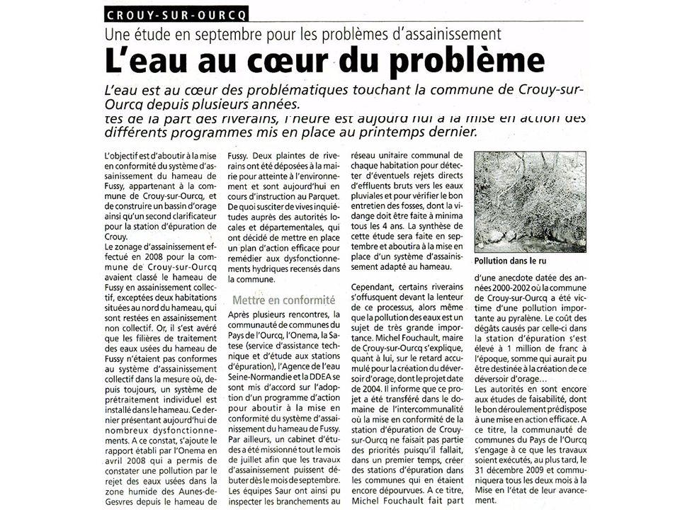 Depuis des années, la commune de Crouy-sur-Ourcq a fermé les yeux et ignorer sciemment le problème des eaux usées dans le hameau de Fussy