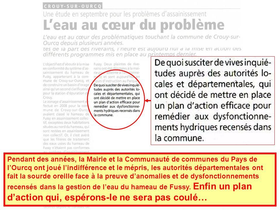 Pendant des années, la Mairie et la Communauté de communes du Pays de lOurcq ont joué lindifférence et le mépris, les autorités départementales ont fait la sourde oreille face à la preuve danomalies et de dysfonctionnements recensés dans la gestion de leau du hameau de Fussy.