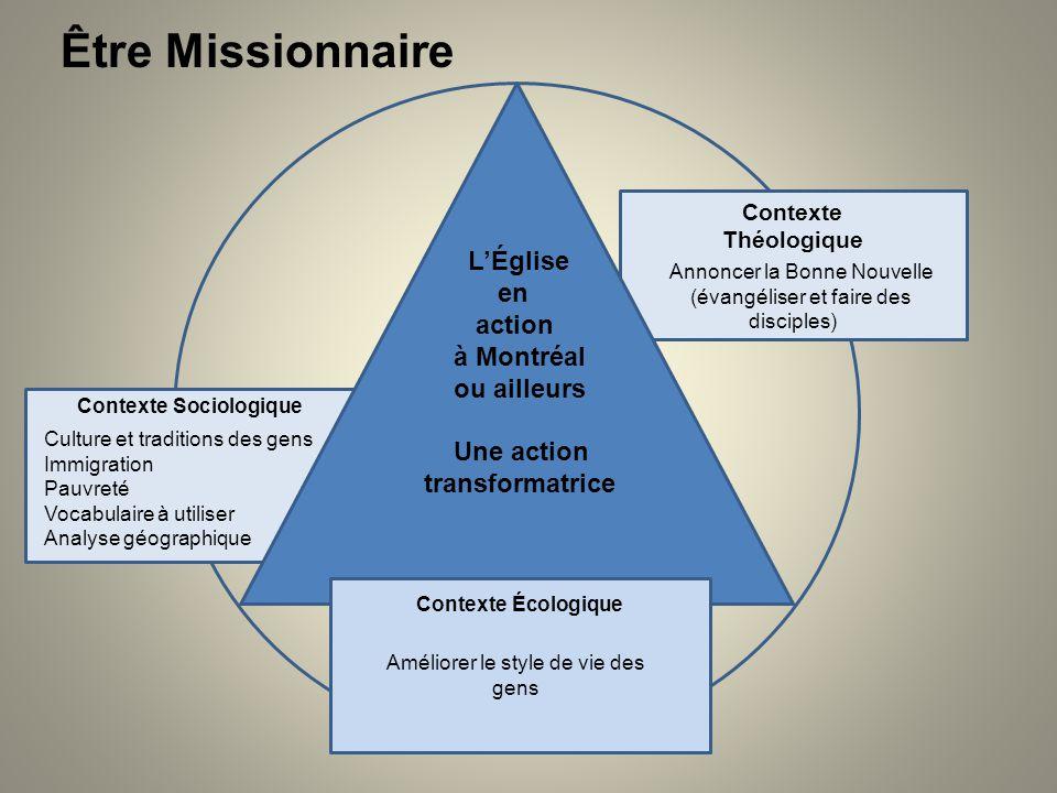 Être Missionnaire LÉglise en action à Montréal ou ailleurs Une action transformatrice Contexte Théologique Annoncer la Bonne Nouvelle (évangéliser et