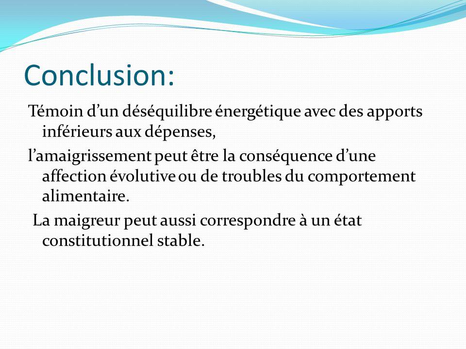 Conclusion: Témoin dun déséquilibre énergétique avec des apports inférieurs aux dépenses, lamaigrissement peut être la conséquence dune affection évol