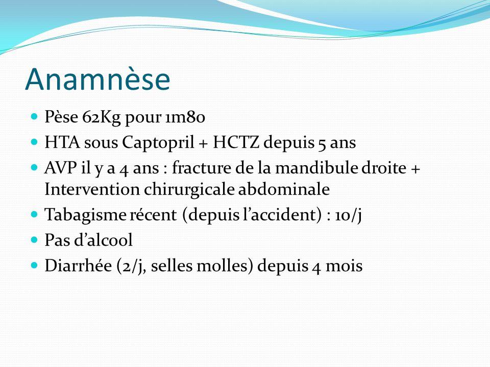 Anamnèse Pèse 62Kg pour 1m80 HTA sous Captopril + HCTZ depuis 5 ans AVP il y a 4 ans : fracture de la mandibule droite + Intervention chirurgicale abd