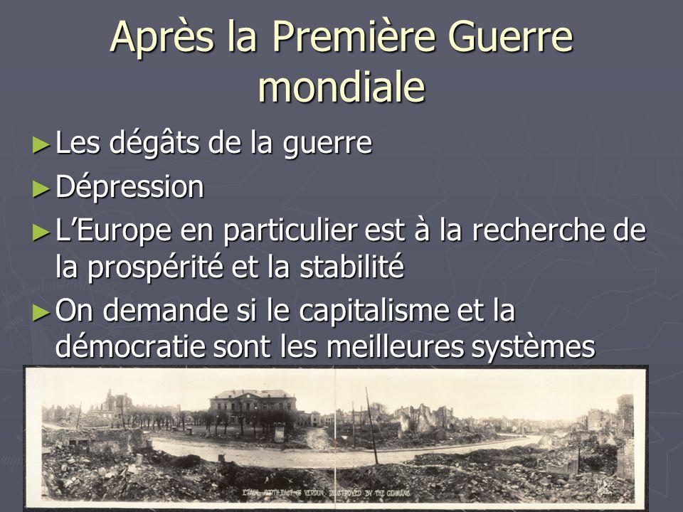 Après la Première Guerre mondiale Les dégâts de la guerre Les dégâts de la guerre Dépression Dépression LEurope en particulier est à la recherche de l