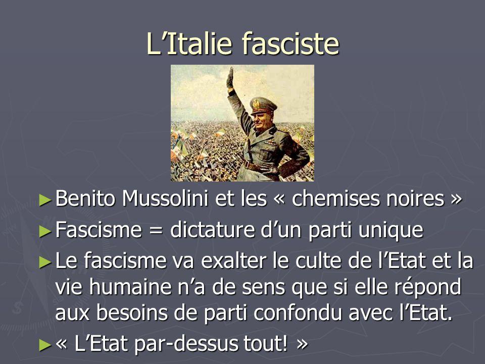 LItalie fasciste Benito Mussolini et les « chemises noires » Benito Mussolini et les « chemises noires » Fascisme = dictature dun parti unique Fascism