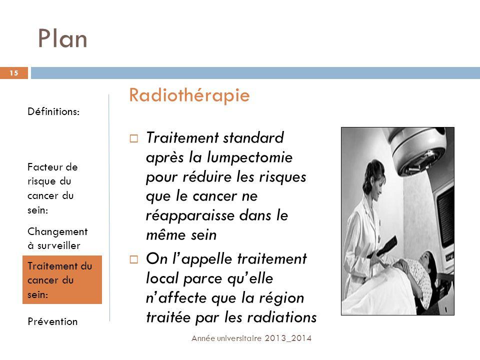 Plan Traitement standard après la lumpectomie pour réduire les risques que le cancer ne réapparaisse dans le même sein On lappelle traitement local pa