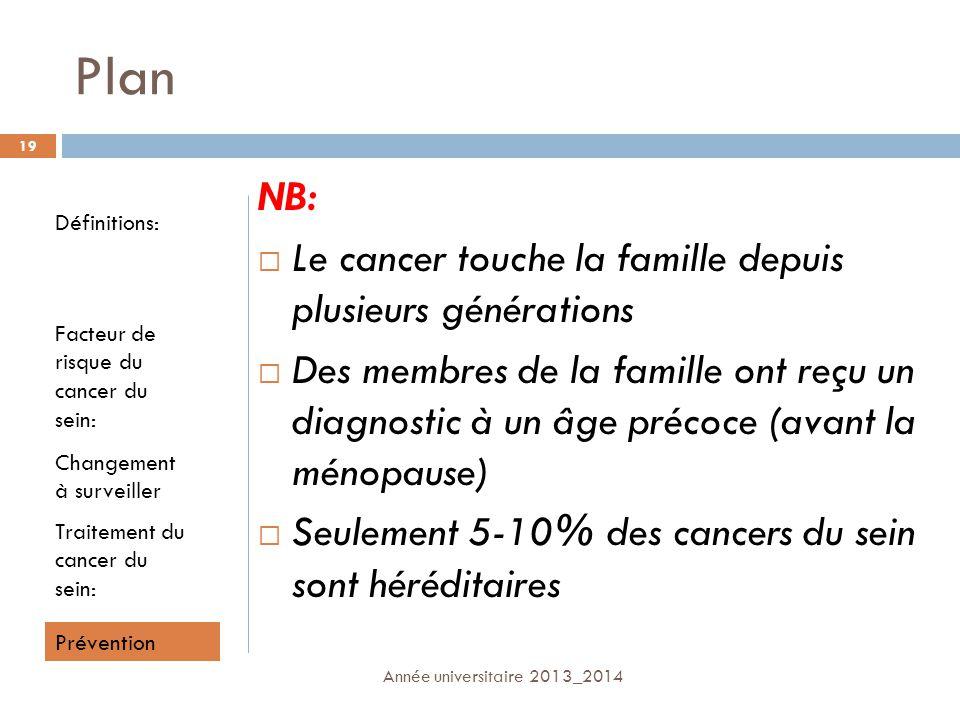 Plan NB: Le cancer touche la famille depuis plusieurs générations Des membres de la famille ont reçu un diagnostic à un âge précoce (avant la ménopaus