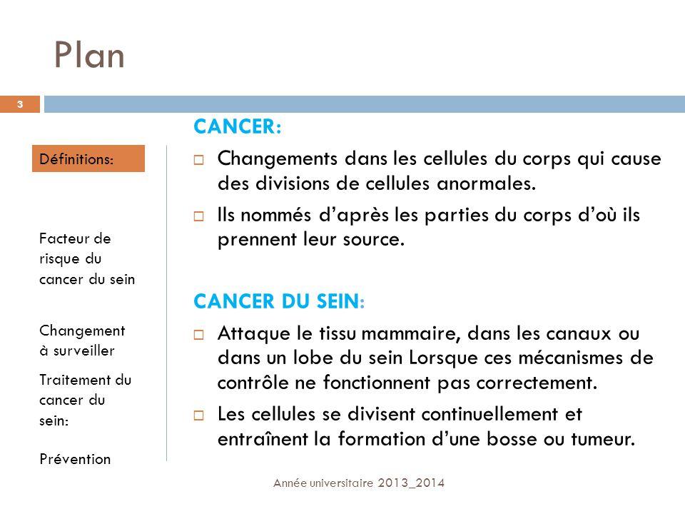 Plan CANCER: Changements dans les cellules du corps qui cause des divisions de cellules anormales. Ils nommés daprès les parties du corps doù ils pren