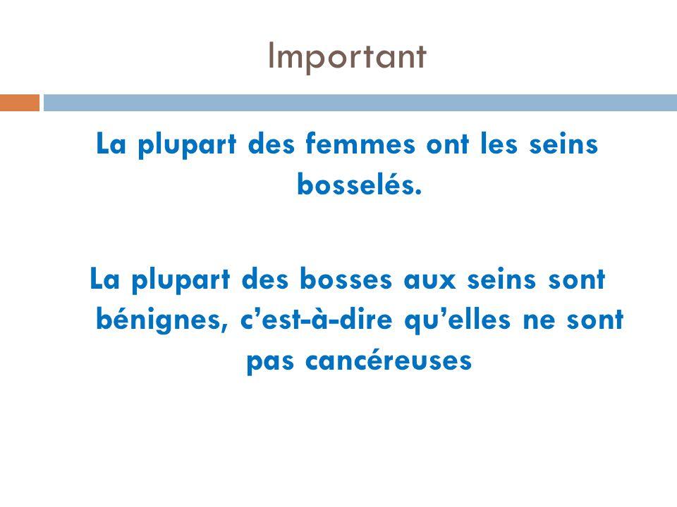 Important La plupart des femmes ont les seins bosselés. La plupart des bosses aux seins sont bénignes, cest-à-dire quelles ne sont pas cancéreuses