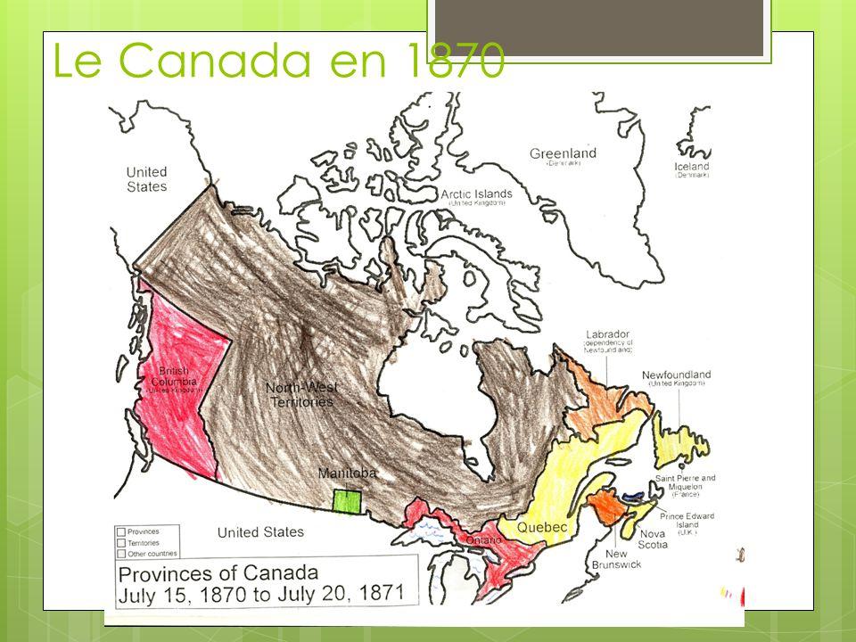 En 1869, le Canada achète Ruperts Land de la Hudsons Bay Company.