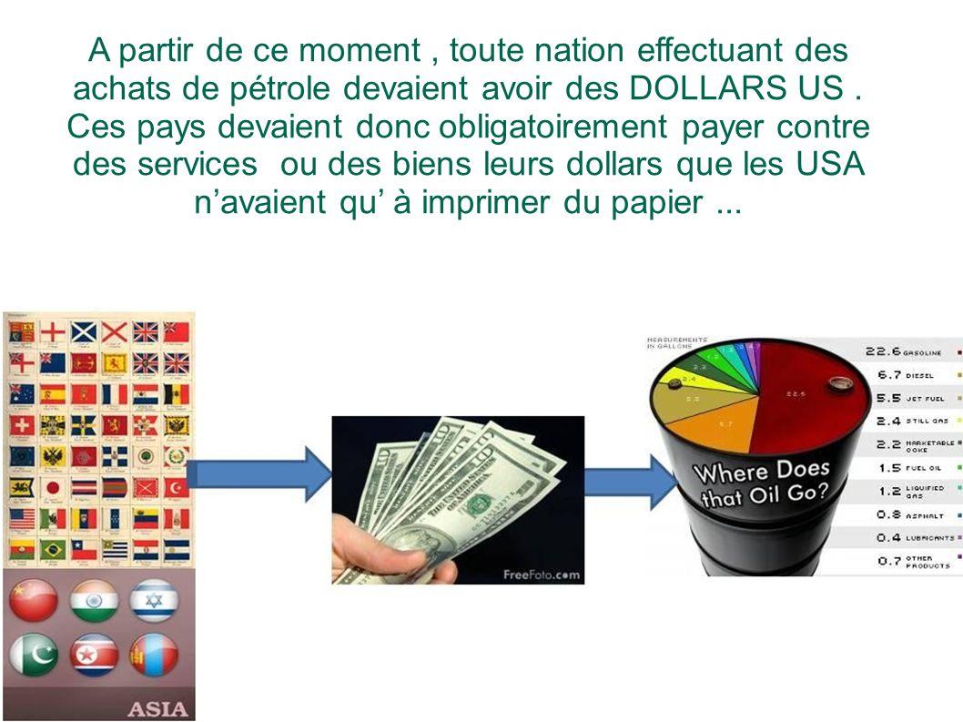 A partir de ce moment, toute nation effectuant des achats de pétrole devaient avoir des DOLLARS US. Ces pays devaient donc obligatoirement payer contr