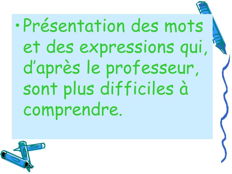 Présentation des mots et des expressions qui, daprès le professeur, sont plus difficiles à comprendre.