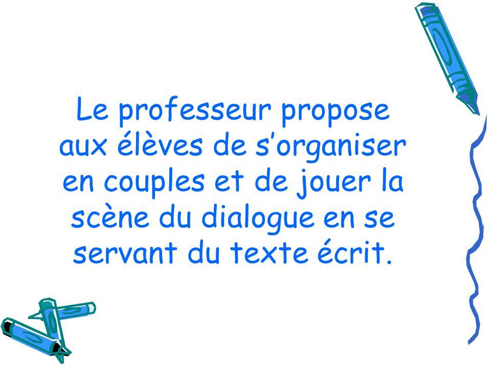 Le professeur propose aux élèves de sorganiser en couples et de jouer la scène du dialogue en se servant du texte écrit.