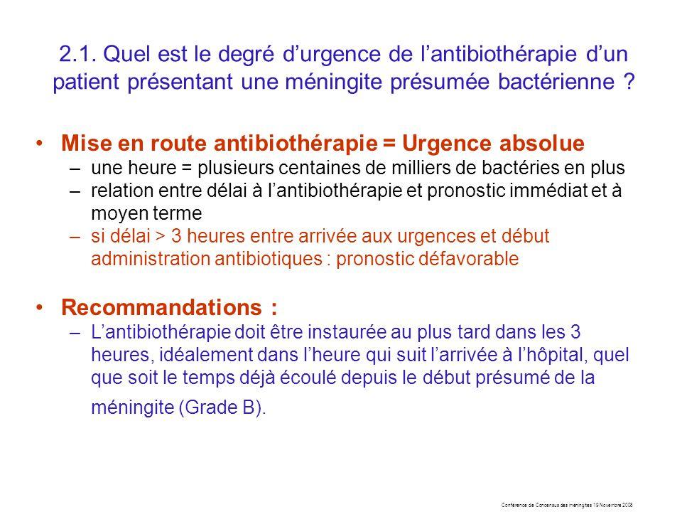 Conférence de Concensus des méningites 19 Novembre 2008 2.1. Quel est le degré durgence de lantibiothérapie dun patient présentant une méningite présu