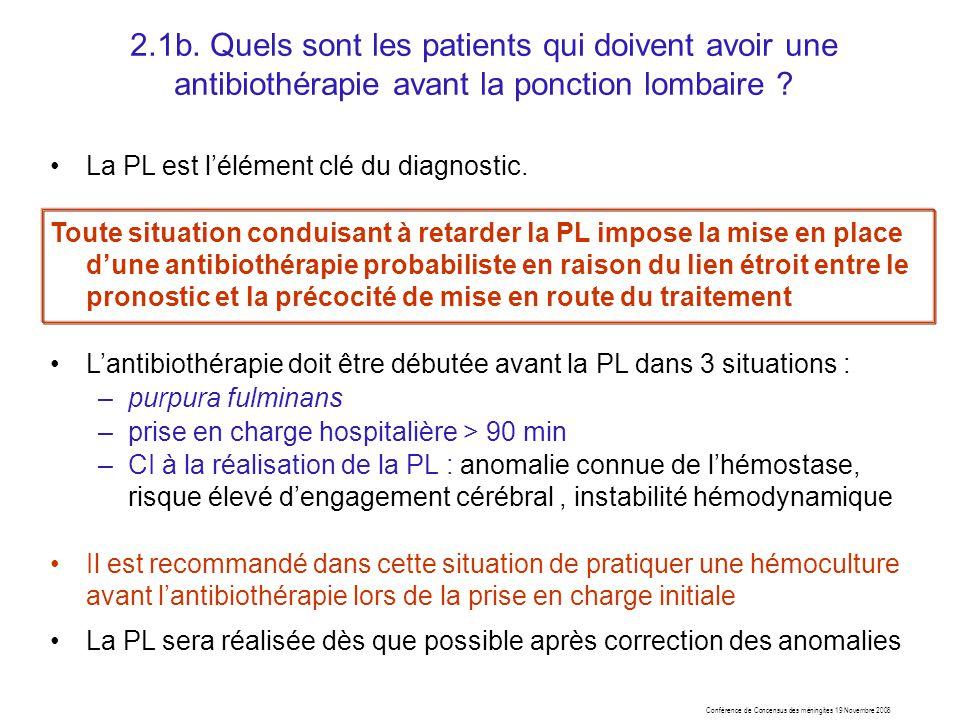 2.1b. Quels sont les patients qui doivent avoir une antibiothérapie avant la ponction lombaire ? La PL est lélément clé du diagnostic. Toute situation