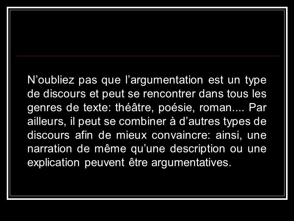 Noubliez pas que largumentation est un type de discours et peut se rencontrer dans tous les genres de texte: théâtre, poésie, roman.... Par ailleurs,