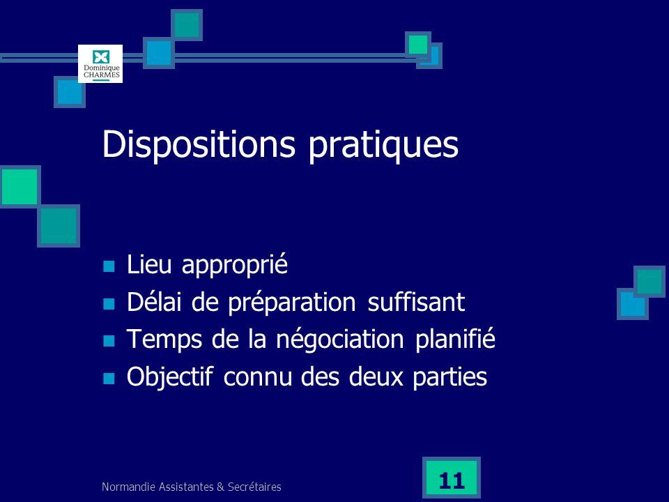 Normandie Assistantes & Secrétaires 11 Dispositions pratiques Lieu approprié Délai de préparation suffisant Temps de la négociation planifié Objectif