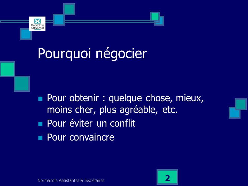 Normandie Assistantes & Secrétaires 2 Pourquoi négocier Pour obtenir : quelque chose, mieux, moins cher, plus agréable, etc. Pour éviter un conflit Po