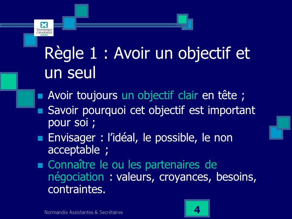 Normandie Assistantes & Secrétaires 4 Règle 1 : Avoir un objectif et un seul Avoir toujours un objectif clair en tête ; Savoir pourquoi cet objectif e