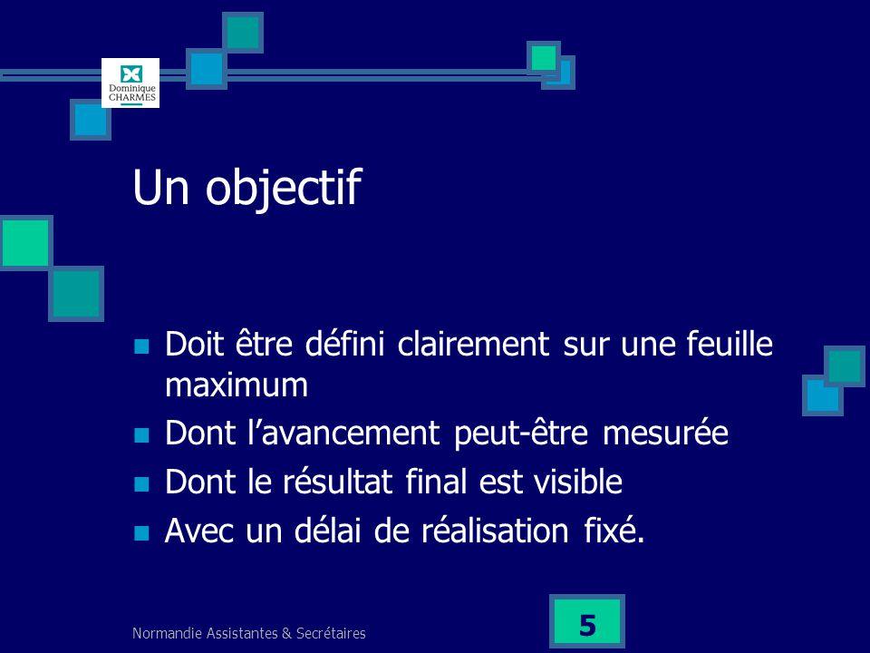 Normandie Assistantes & Secrétaires 5 Un objectif Doit être défini clairement sur une feuille maximum Dont lavancement peut-être mesurée Dont le résul
