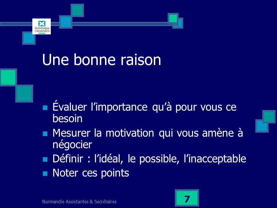 Normandie Assistantes & Secrétaires 7 Une bonne raison Évaluer limportance quà pour vous ce besoin Mesurer la motivation qui vous amène à négocier Déf