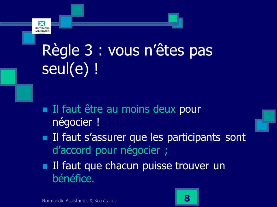 Normandie Assistantes & Secrétaires 8 Règle 3 : vous nêtes pas seul(e) ! Il faut être au moins deux pour négocier ! Il faut sassurer que les participa