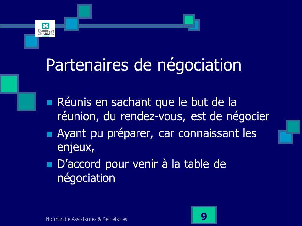 Normandie Assistantes & Secrétaires 9 Partenaires de négociation Réunis en sachant que le but de la réunion, du rendez-vous, est de négocier Ayant pu