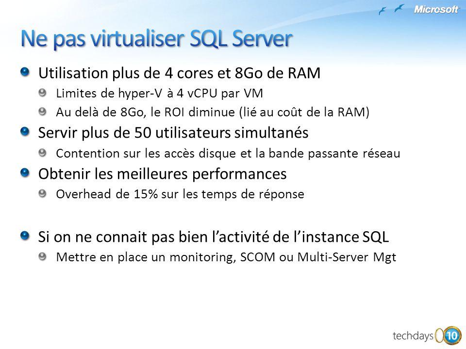 Stockage Disques VHD de taille fixe Mapping VHD-LUN, attention au LOG et à TEMPDB Disques en mode pass-through Tester avec SQLIO Limiter la surallocation CPU En mode nominal, bien répartir les VM sur les serveurs Utiliser les private Virtual Network Entre un serveur IIS et SQL, SSIS et un DW, amélioration des performances en mode virtuel Adapter la stratégie de sauvegarde et de haute disponibilité Utilisation de VSS Utiliser le Database Mirroring asynchrone