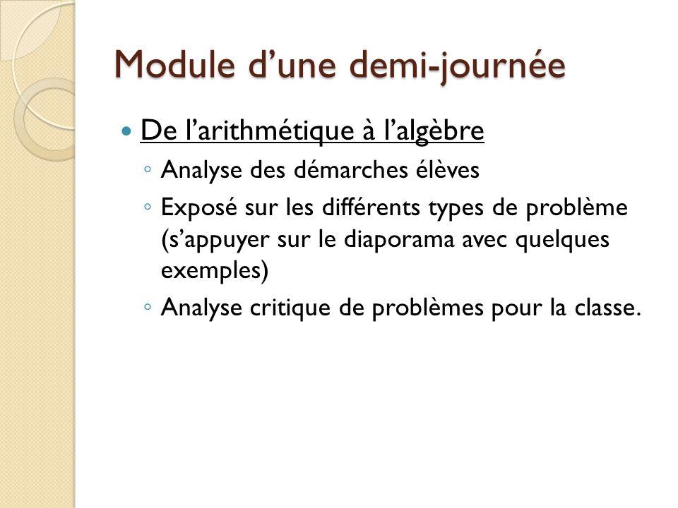 Module dune demi-journée De larithmétique à lalgèbre Analyse des démarches élèves Exposé sur les différents types de problème (sappuyer sur le diaporama avec quelques exemples) Analyse critique de problèmes pour la classe.