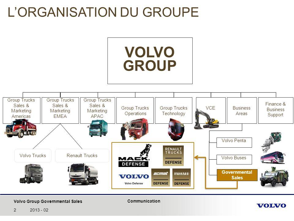 Volvo Group Governmental Sales Communication 32013 - 02 5 marques dédiées aux ventes aux Etats - Governmental Sales – et spécialisées dans les véhicules de Défense et de Sécurité… Spectre des opérations: -Toute vente de Volvo Group aux clients étatiques ou privés des domaines de la Défense, de la Sécurité du territoire ou de la Sécurité civile.
